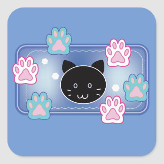 Cute cat and paw pads (blue) square sticker