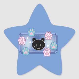 Cute cat and paw pads (blue) star sticker
