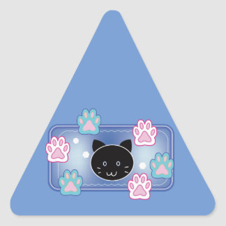 Cute cat and paw pads (blue) triangle sticker
