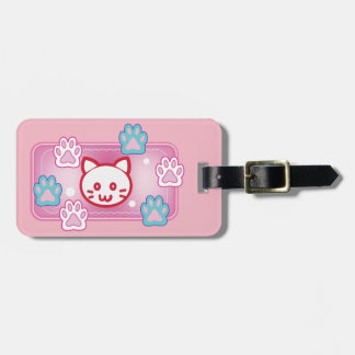 Cute cat and paw pads (pink) bag tag