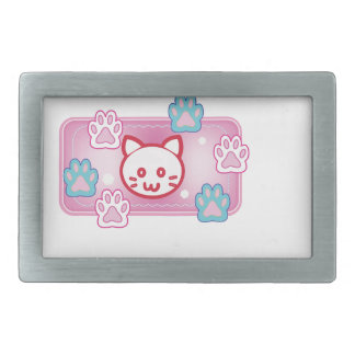 Cute cat and paw pads (pink) belt buckle