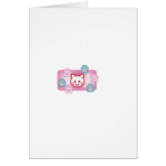 Cute cat and paw pads (pink) card