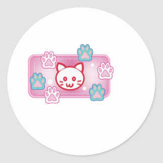 Cute cat and paw pads (pink) classic round sticker