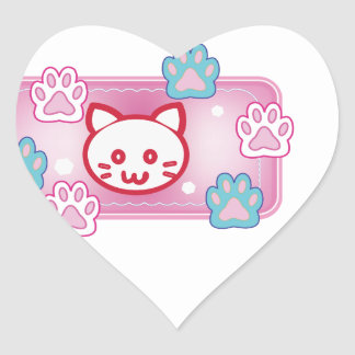 Cute cat and paw pads (pink) heart sticker
