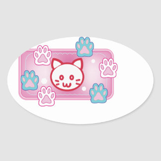 Cute cat and paw pads (pink) oval sticker