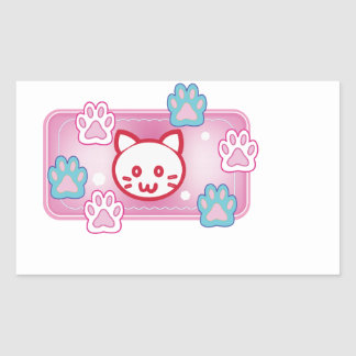 Cute cat and paw pads (pink) rectangular sticker