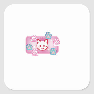 Cute cat and paw pads (pink) square sticker