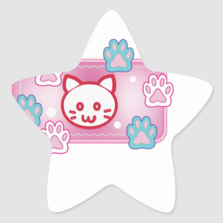 Cute cat and paw pads (pink) star sticker