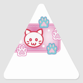 Cute cat and paw pads (pink) triangle sticker