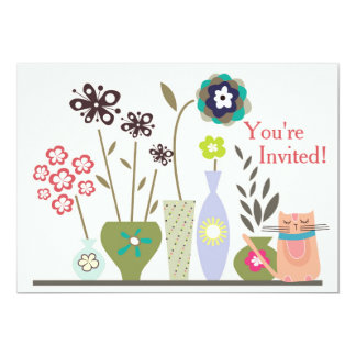 Cute Cat and Potted Flowers Baby Shower Invitation