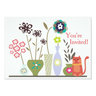 Cute Cat and Potted Flowers Birthday Invitation