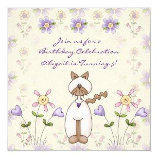 Cute Cat and Pretty Flower Garden Birthday Invitation