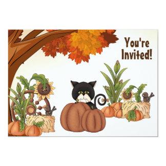 Cute Cat and Pumpkin Autumn Birthday Invitation