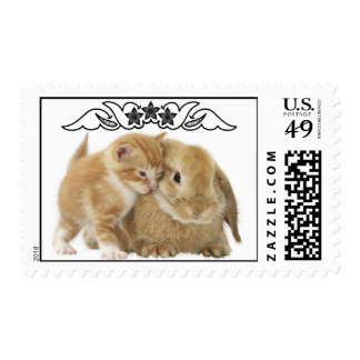 Cute Cat And Rabbit Easter Postage