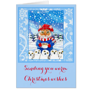 Cute cat and snowy owls Christmas winter card