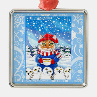 Cute cat and snowy owls, snow ornament