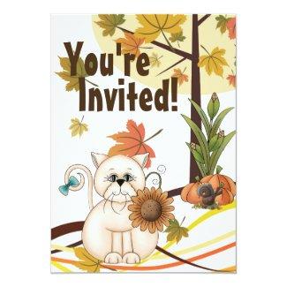 Cute Cat and Sunflower Autumn Birthday Invitation