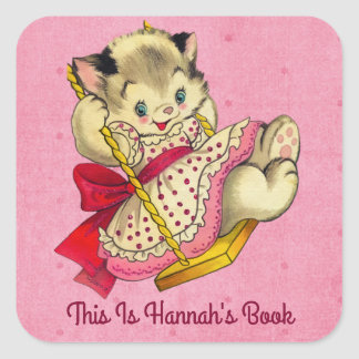 Cute Cat And Swing Vintage Style Bookplate