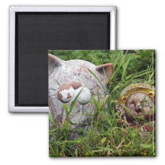 Cute Cat and Tanuki Statues in the grass 2 Inch Square Magnet
