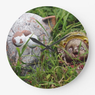 Cute Cat and Tanuki Statues in the grass Wall Clock