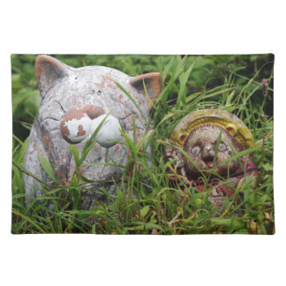 Cute Cat and Tanuki Statues in the grass Cloth Placemat