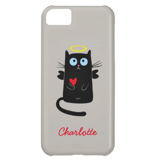 Cute Cat Angel with Heart Customized Name Case For iPhone 5C
