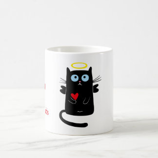 Cute Cat Angel with Heart Personalized Name Coffee Mug