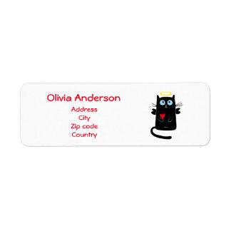 Cute Cat Angel with Heart Personalized Name Label