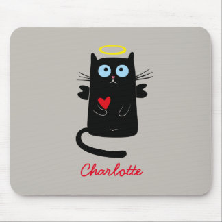 Cute Cat Angel with Heart Personalized Name Mouse Pad