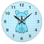 Cute Cat. Aqua Color Cat. Round Wall Clocks