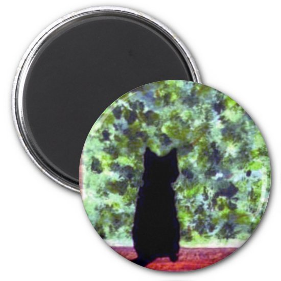 Cute Cat Art Black Cat at the Window Painting Magnet