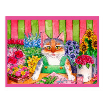Cute cat art flower shop postcard