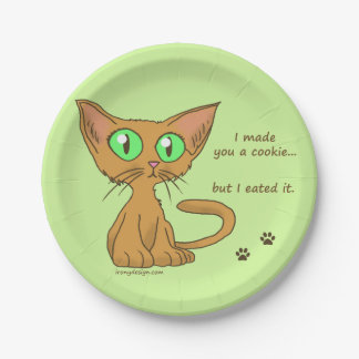 Cute Cat Ate Your Cookie Humor Paper Plate