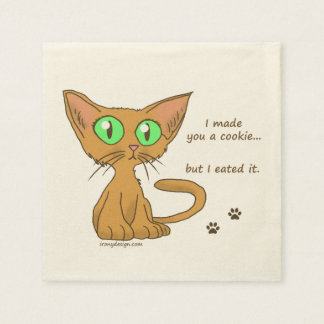 Cute Cat Ate Your Cookie Standard Cocktail Napkin