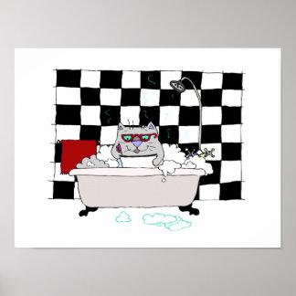 Cute Cat Bathroom  Art Print