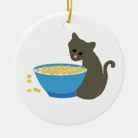 Cute Cat Beside A Blue Food Dish Ceramic Ornament