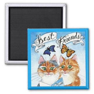 Cute cat best friends magnet