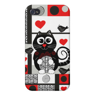 cute Cat, Birds. Patterns & hearts Cover For iPhone 4