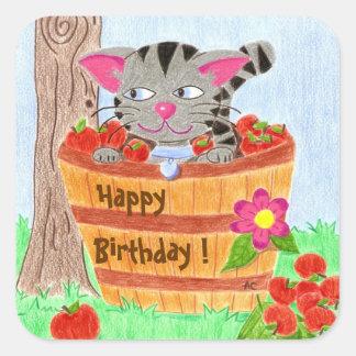 Cute cat birthday stickers