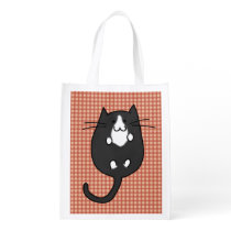 Cute Cat Black and White Reusable Grocery Bag