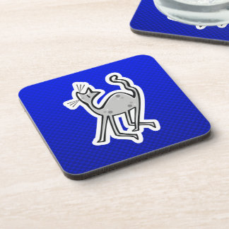 Cute Cat; Blue Beverage Coaster