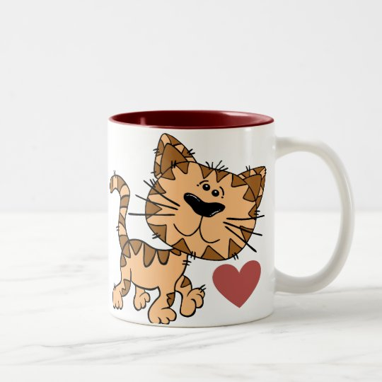 Cute Cat Born to be Loved Valentines Two-Tone Coffee Mug