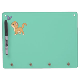 Cute Cat Butterfly Dry Erase Board With Keychain Holder