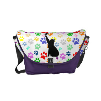 Cute Cat Chasing a butterfly On a Cute Paw Pattern Small Messenger Bag