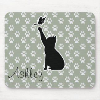 Cute Cat Chasing A butterfly Paws Pattern Monogram Mouse Pad