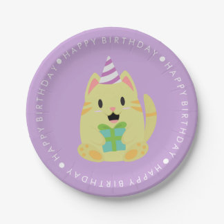 Cute Cat Children's Birthday Party 7 Inch Paper Plate