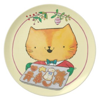 Cute Cat Christmas Dinner Plates