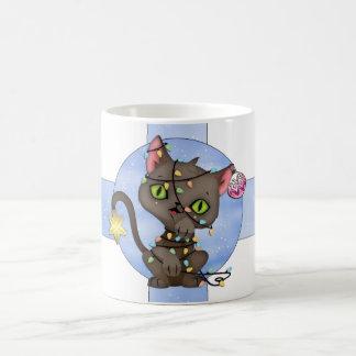 Cute Cat Christmas Mug - Tangled Tree Light Cat