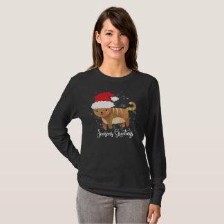 Cute Cat Christmas T-Shirt Season's Greetings