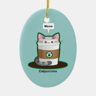 Cute Cat Coffee Ceramic Ornament